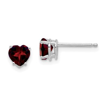 14k White Gold 5mm Heart Garnet Earrings