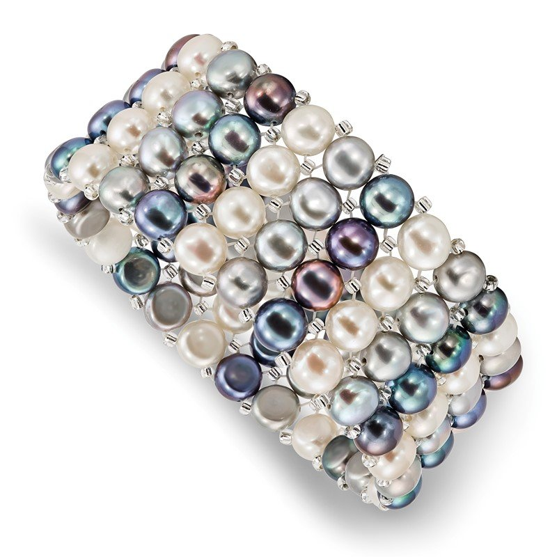 Quality Gold 7-8mm Button FWC Pearl & Glass Beaded 4-row Stretch Bracelet