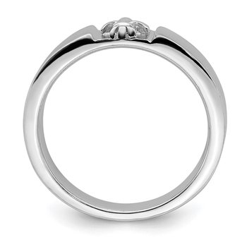 Sterling Silver Rhodium-plated Polished Fleur Dis Lis Band