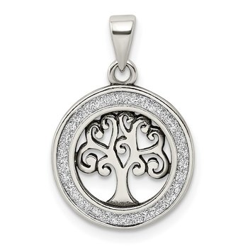 Sterling Silver Antiqued Enamel Glitter Enamel Tree in Circle Pendant