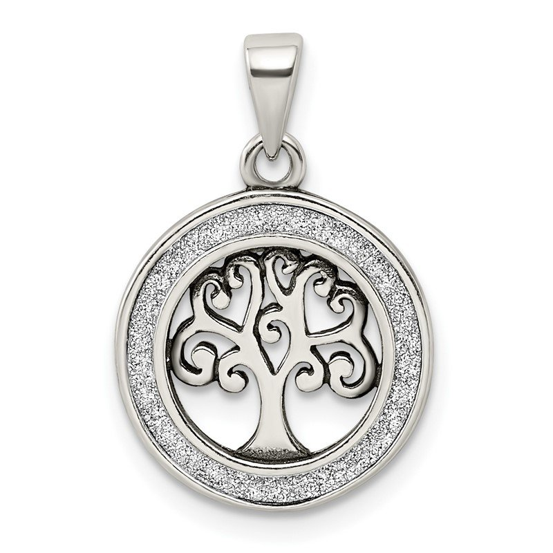 JC Sipe Essentials Sterling Silver Antiqued Enamel Glitter Enamel Tree in Circle Pendant
