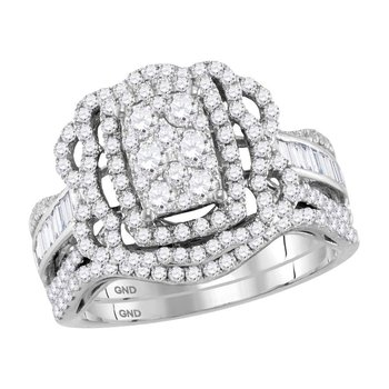 14kt White Gold Womens  Diamond Bridal Wedding Engagement Ring Band Set 1-1/2 Cttw