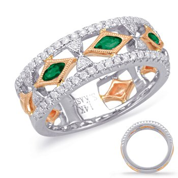 Rose & White Gold Tsavorite Diamond Ring
