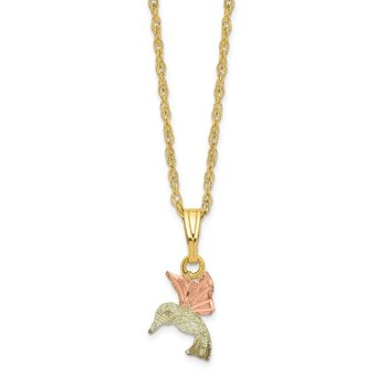 10k Tri-Color Black Hills Gold Hummingbird Necklace