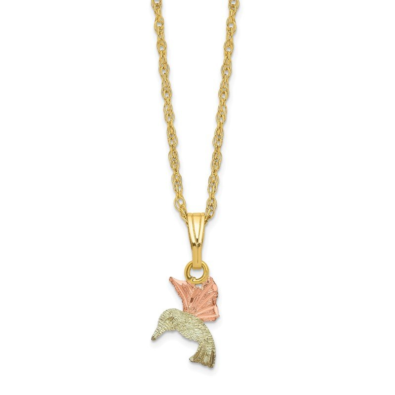 Quality Gold 10k Tri-Color Black Hills Gold Hummingbird Necklace