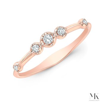 Rose Gold Scattered Bezel Stackable Band