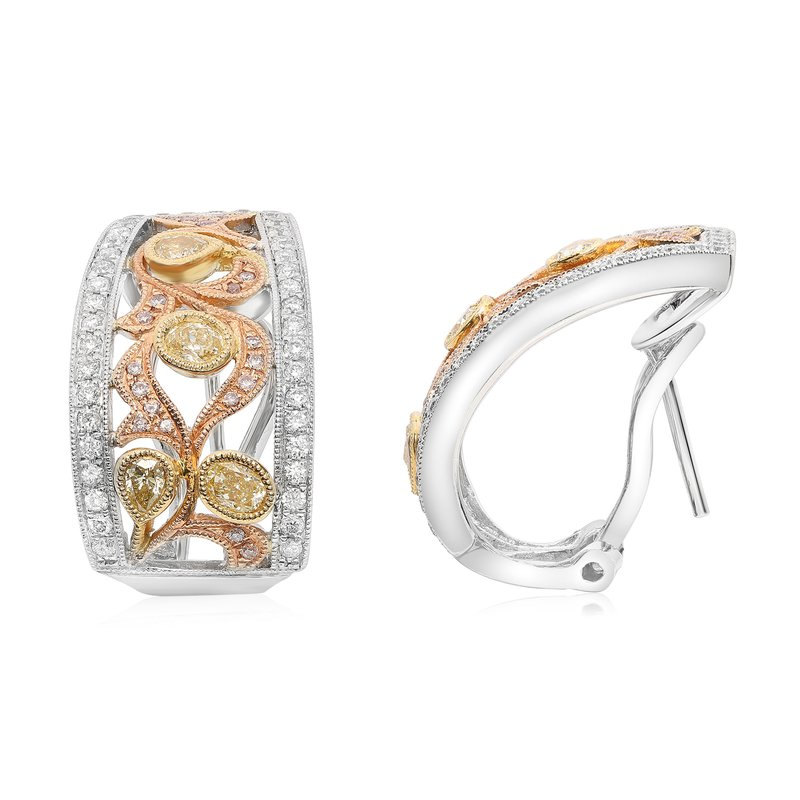 Roman & Jules Tri-Colored Diamond Earrings