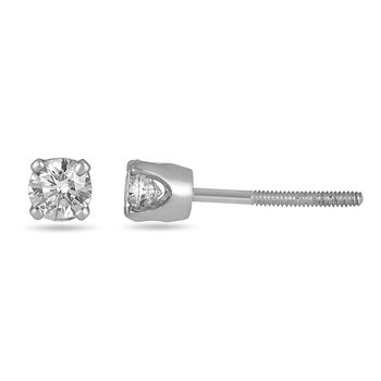 14K WG Diamond Solitaire Stud in Screw Back