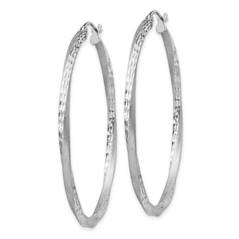 Sterling Silver RH-plated Satin D/C 2.5x45mm Twisted Hoop Earrings