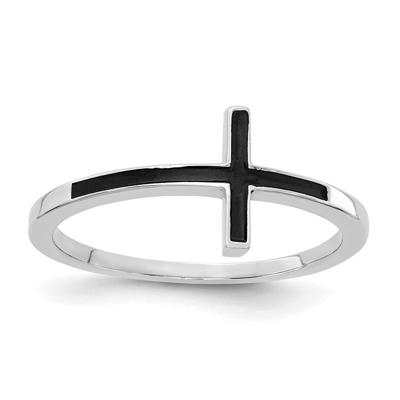 Quality Gold 14k White Gold Antiqued Sideways Cross Ring