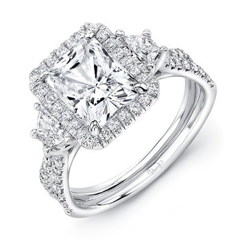 Uneek Radiant-Center Three-Stone Engagement Ring with Pave Double Shank, in 14K White Gold
