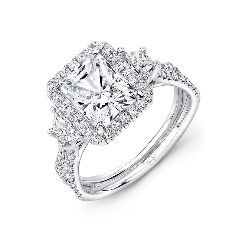 Uneek Fine Jewelry Uneek Radiant-Center Three-Stone Engagement Ring with Pave Double Shank, in 14K White Gold