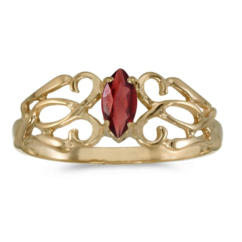 Color Merchants 10k Yellow Gold Marquise Garnet Filagree Ring
