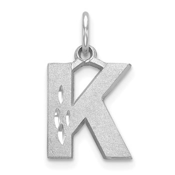 14KW Satin Diamond-cut Letter K Initial Charm
