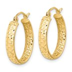 Quality Gold 14k Diamond-cut In/Out Hoop Earrings