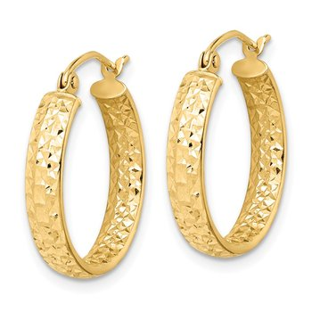 14k Diamond-cut In/Out Hoop Earrings