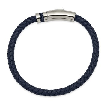 Stainless Steel Polished Blue Leather 8.25in Bracelet
