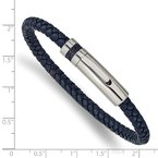 Chisel Stainless Steel Polished Blue Leather 8.25in Bracelet