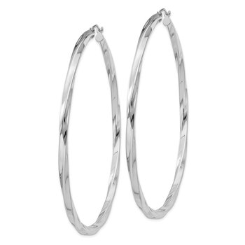 Sterling Silver Rhodium-plated 3x70mmTwisted Hoop Earrings