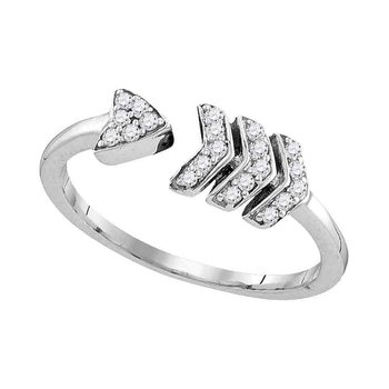 Sterling Silver Womens Round Diamond Bisected Arrow Band Ring 1/6 Cttw