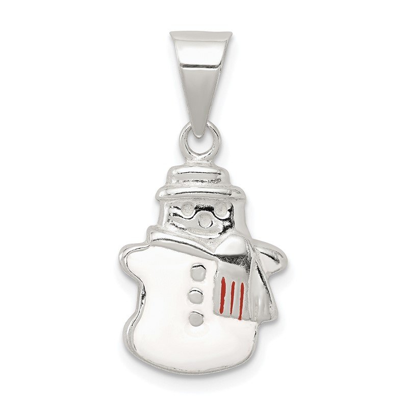 Quality Gold Sterling Silver Enameled Snowman Charm