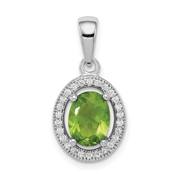 Sterling Silver Rhod-plated Light Green and White CZ Oval Pendant