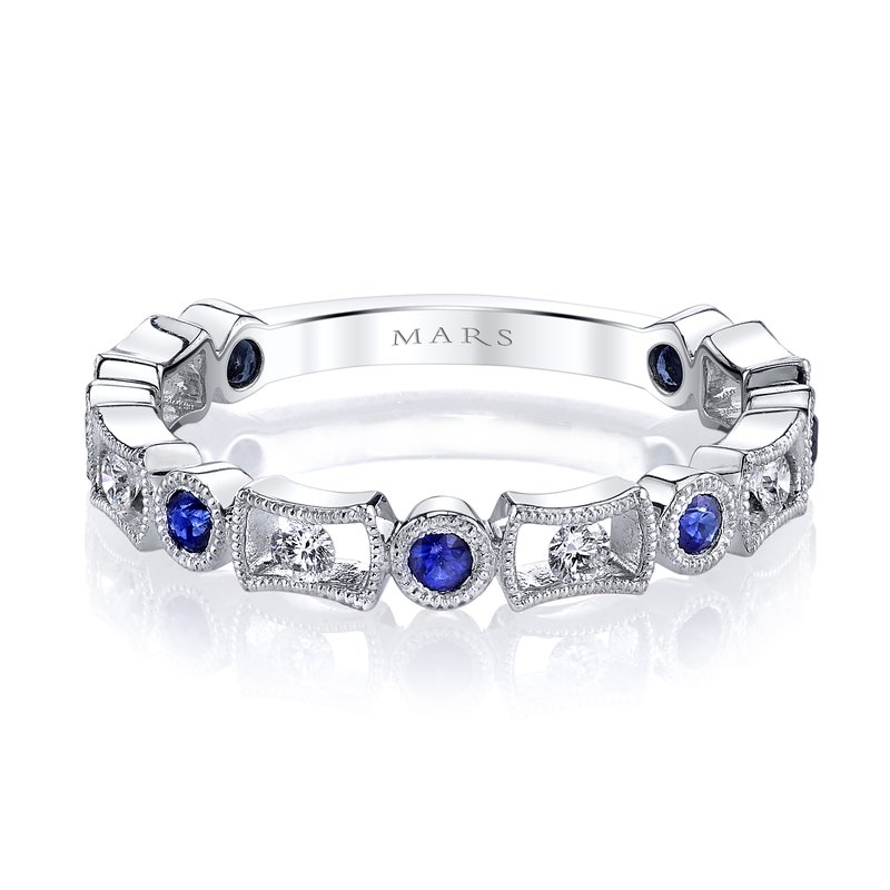 MARS Jewelry MARS 26211WGBS Stackable Ring, 0.17 Dia, 0.27 B Saph.