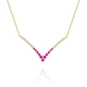 "Pink Sapphire & Diamond ""V"" Necklace Set in 14 Kt. Gold"