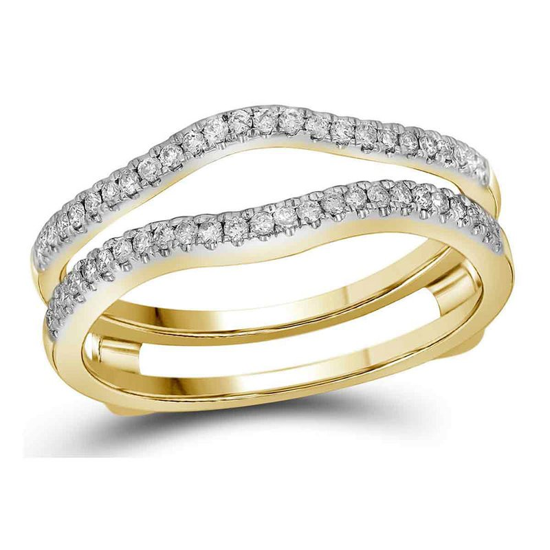 Gold-N-Diamonds, Inc. (Atlanta) 14kt Yellow Gold Womens Diamond Ring Guard Wrap Solitaire Band Enhancer 1/4 Cttw