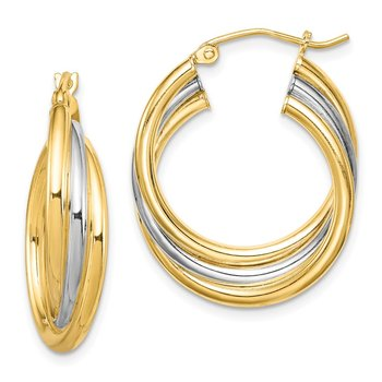 Sterling Silver RH-plated and Gold-plated Triple Hoop Earrings