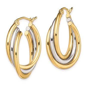 Sterling Silver Rhodium-plated Gold-plated Triple Hoop Earrings