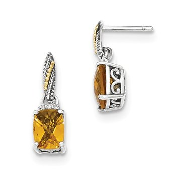Sterling Silver w/14k Diamond and Citrine Dangle Post Earrings