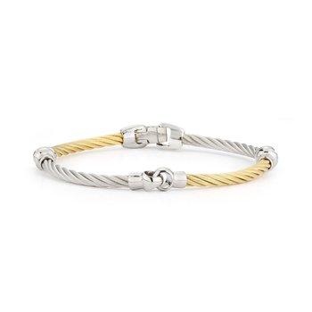 Yellow & Grey Cable Interlocking Bracelet