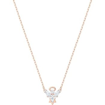 Magic Angel Necklace, White, Rose-gold tone plated