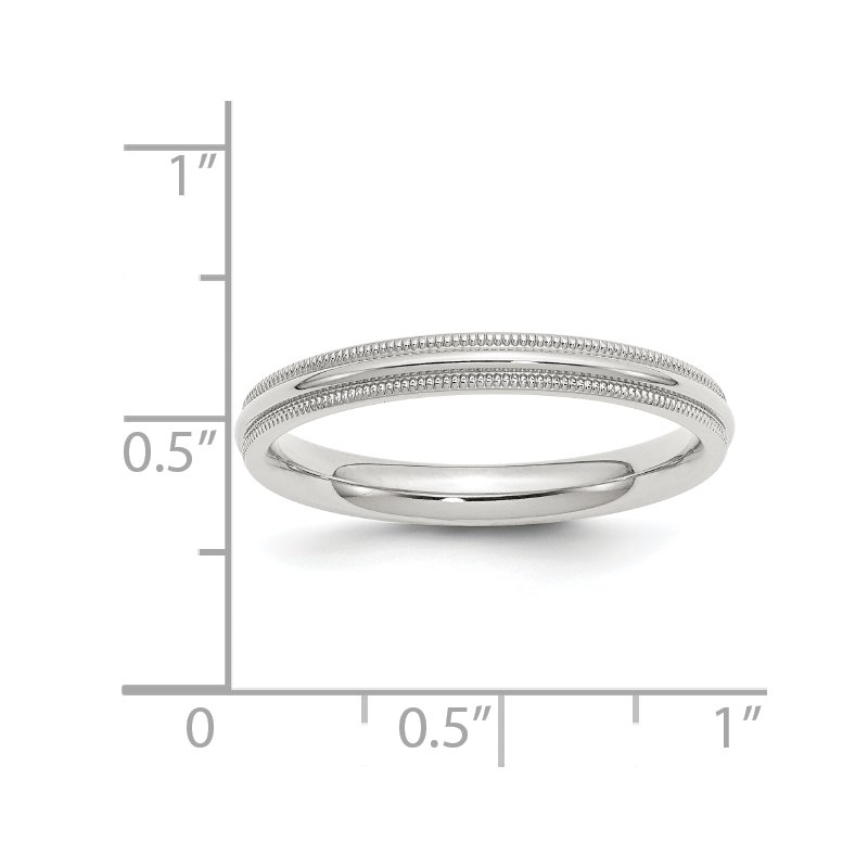 Quality Gold SS 3mm Comfort Fit Milgrain Size 10 Band