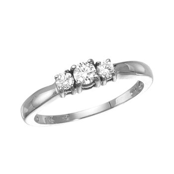 14k White Gold 0.25 Ct Three Stone Diamond Ring