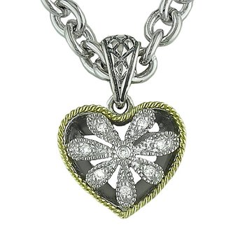 18kt and Sterling Silver Heart Antique Flower Diamond Pendant with Chain