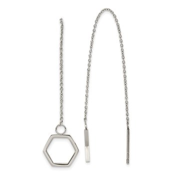Stainless Steel Polished Hexagon Dangle Threader Earrings