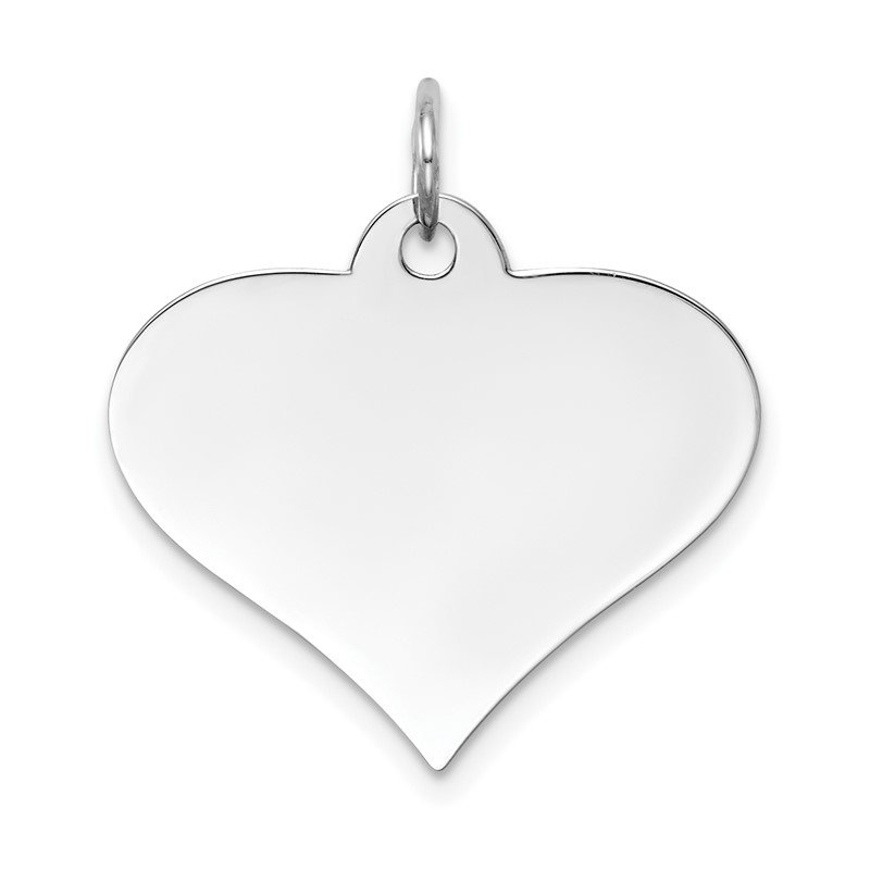Quality Gold 14k White Gold Plain .027 Gauge Engraveable Heart Disc Charm