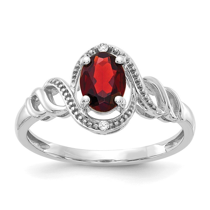 Quality Gold 10k White Gold Garnet and Diamond Ring