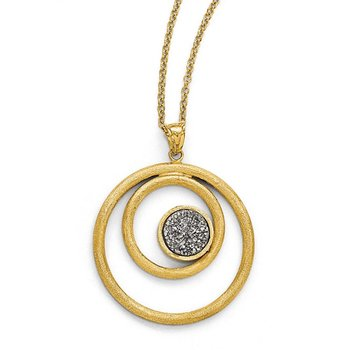 Leslie's 14k Round Pendant with Grey Druzy Necklace