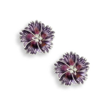 Purple Sweetness Flower Stud Earrings.Sterling Silver-White Sapphires