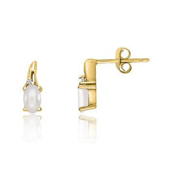 14k Yellow Gold Freshwater Cultured Pearl and Diamond Earrings