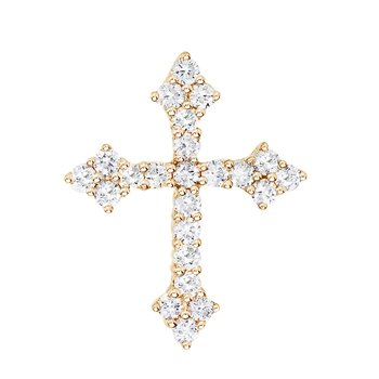 14K Yellow Gold .53 Ct Diamond Cross Pendant