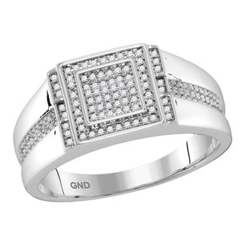 10kt White Gold Mens Round Diamond Square Cluster Ring 1/5 Cttw
