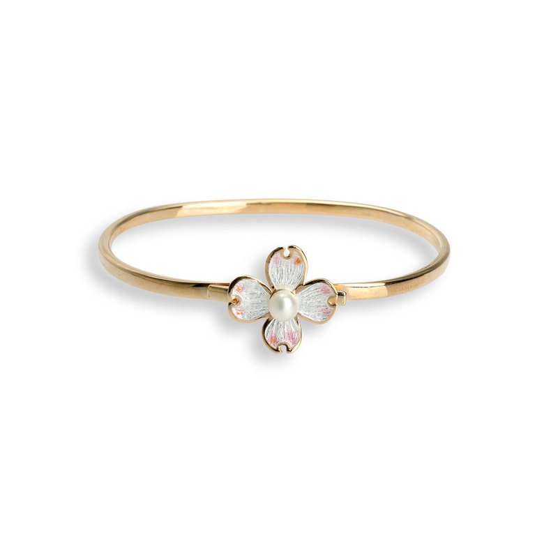 Nicole Barr Designs White Dogwood Large Torq Bracelet.Rose Gold Plated Sterling Silver-Akoya Pearl