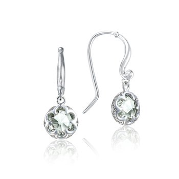 Petite Crescent Drop Earrings featuring Prasiolite