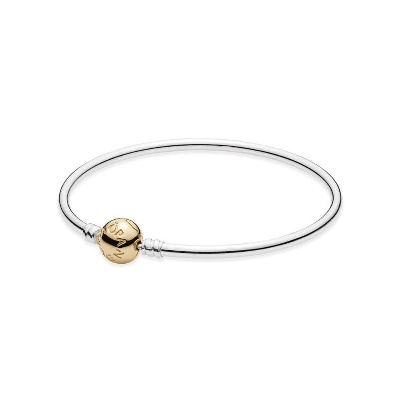 fe59b426a PANDORA Silver Bangle Charm Bracelet With 14K Gold Clasp. Stock # 590718