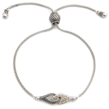 18kt and Sterling Silver Diamond Adjustable Bracelet