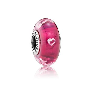 Cerise Heart Glass, Clear CZ